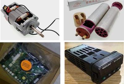 Đầy đủ phụ tùng máy hàn nhựa: Lưỡi nêm nhiệt, rulo, bo mạch, động cơ, vỏ máy, công tắc...vvv
